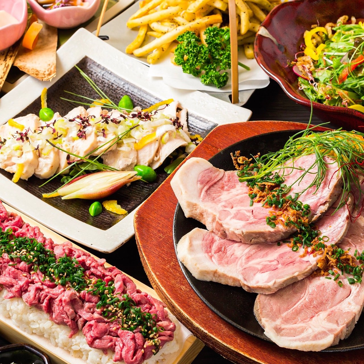 コース|選べるメイン!牛たんしゃぶしゃぶor米沢豚肩ロースのステーキコースの画像