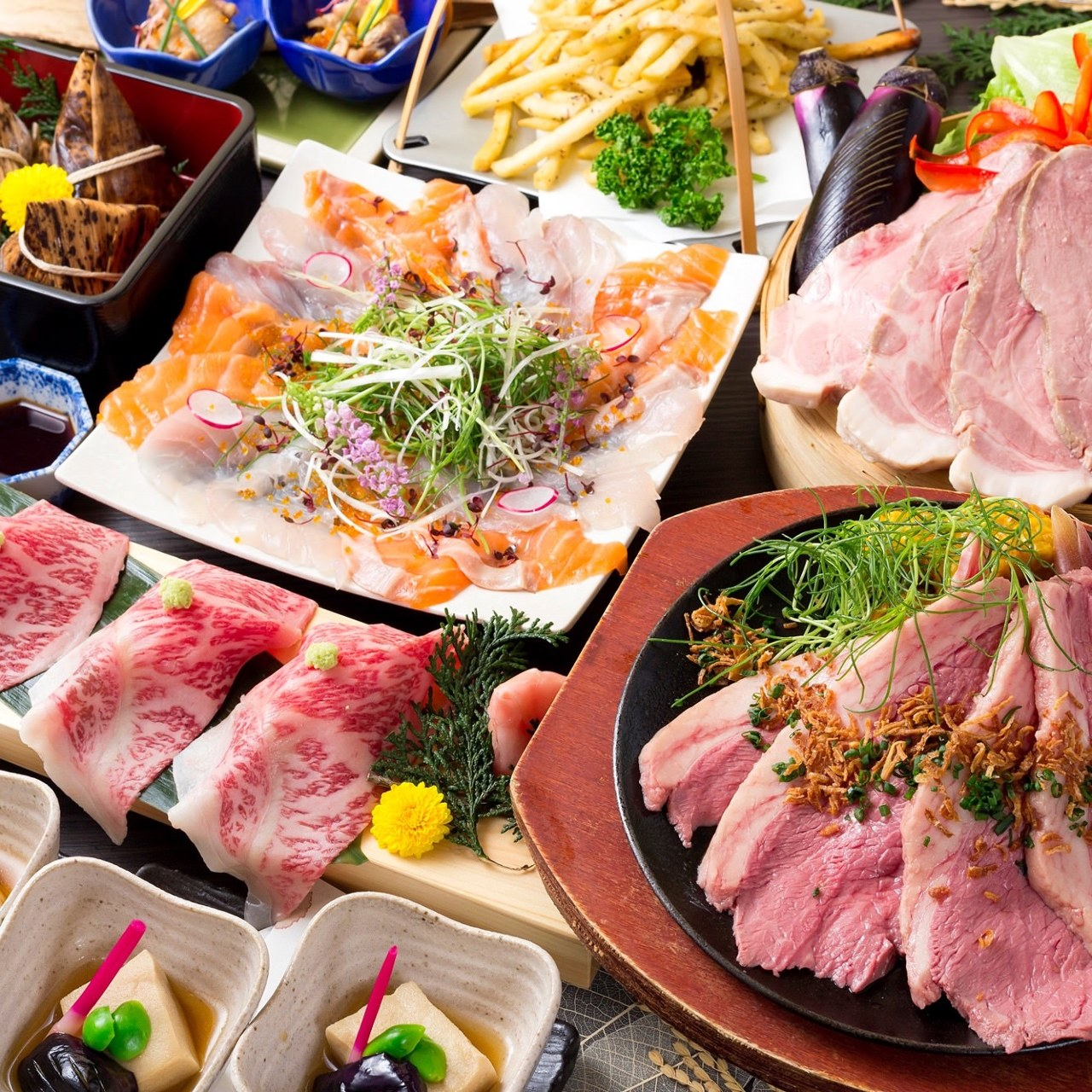 コース|豪華!A4黒毛和牛炙り寿司と和牛のステーキコースの画像