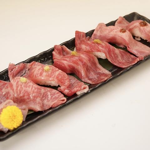 逸品料理|炙り肉寿司3種盛り合わせ(1貫×3種)の画像